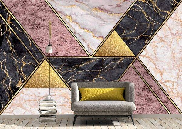Geometric Marble Figures Wall Mural Photo Wallpaper UV Print Decal Art Décor