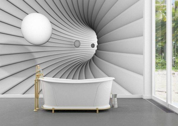 3D White Tunnel with Balls Wall Mural Photo Wallpaper UV Print Decal Art Décor