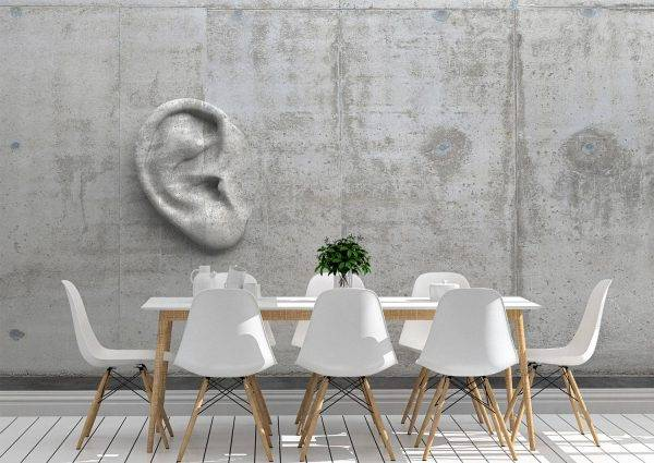 3D Ear in a Cement wall Wall Mural Photo Wallpaper