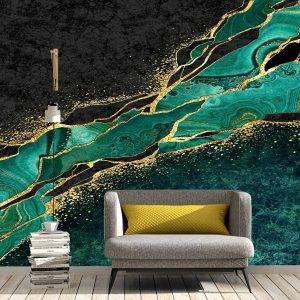 Green Marble with Gold Wall Mural Photo Wallpaper