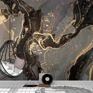 Grey & Black with Gold Marble Wall Mural Photo Wallpaper UV Print Decal Art Décor