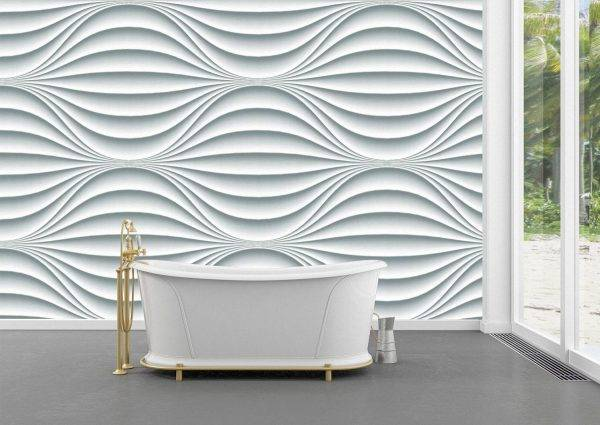 White Wavy Background Wall Mural Photo Wallpaper UV Print Decal Art Décor