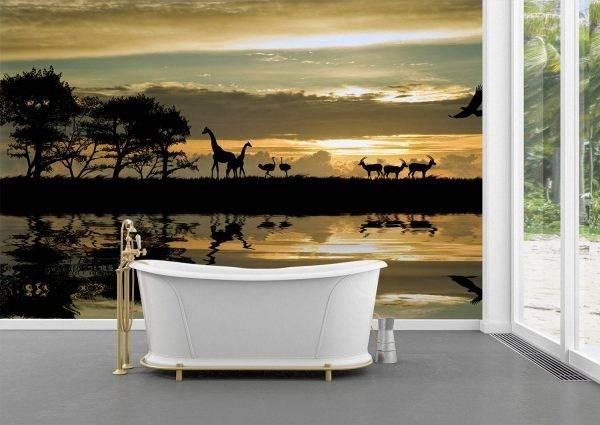 African Landscape & Wild Animals Wall Mural Wallpaper