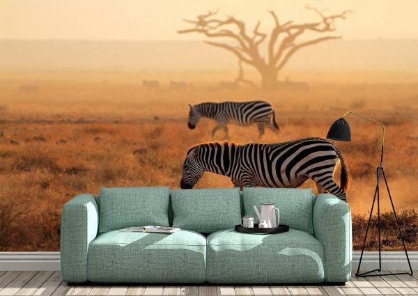 Walking Zebras in Africa Wall Mural Photo Wallpaper UV Print Decal Art Décor