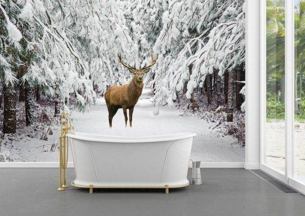 Deer in Winter Scenery Wall Mural Photo Wallpaper UV Print Decal Art Décor