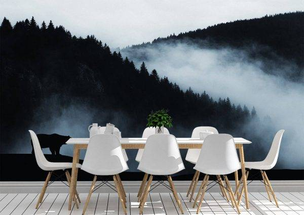 Bear in the Mountains Wall Mural Photo Wallpaper