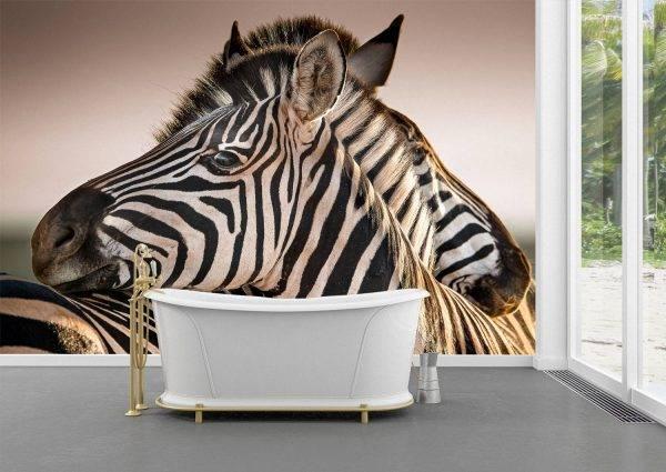 Hugging Couple of Zebras Wall Mural Photo Wallpaper UV Print Decal Art Décor