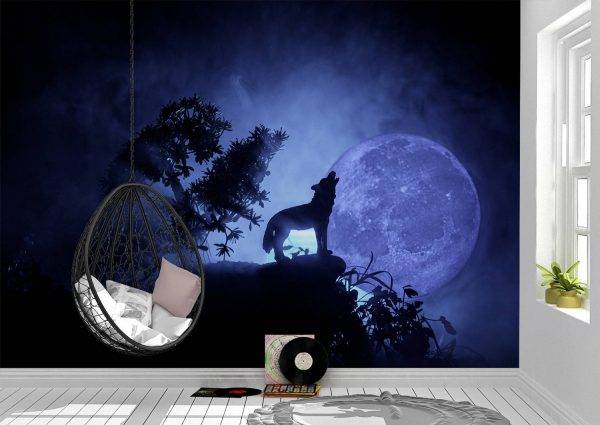 The Wolf Howling to the Moon Wall Mural Photo Wallpaper UV Print Decal Art Décor