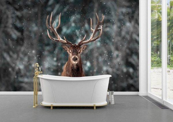 Deer in the Snowflakes Wall Mural Photo Wallpaper UV Print Decal Art Décor