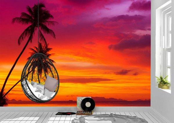 Beautiful Palm Trees & Sunset Wall Mural Wallpaper