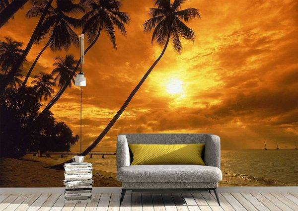 Landscape and Sunset Wall Mural Photo Wallpaper UV Print Decal Art Décor