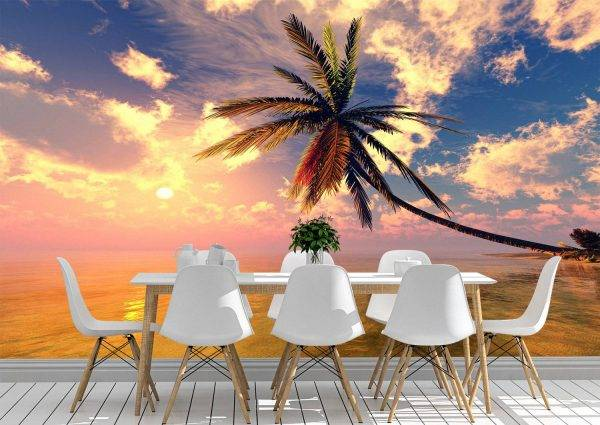 Palm tree over water Wall Mural Photo Wallpaper UV Print Decal Art Décor