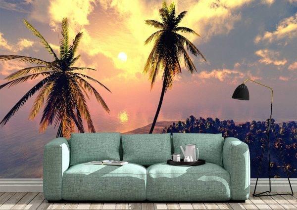 Palm trees against blue sky Wall Mural Photo Wallpaper UV Print Decal Art Décor