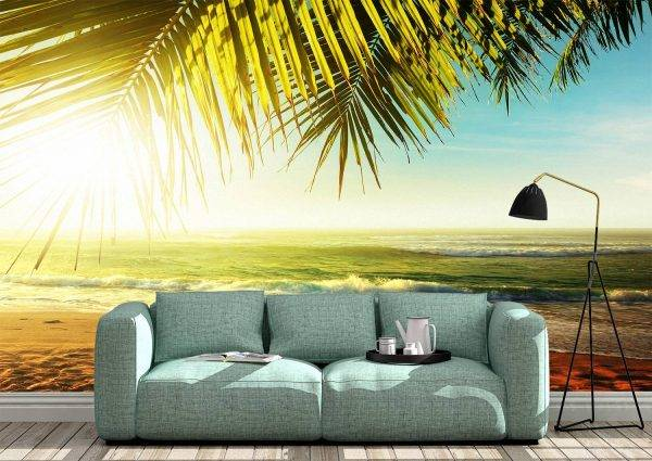 Palm Trees at Tropical Coast Wall Mural Photo Wallpaper