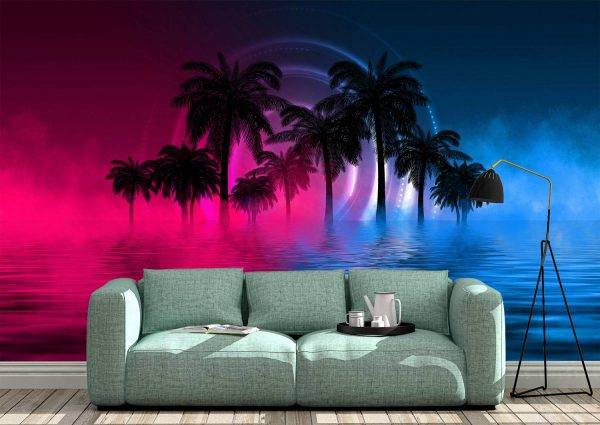 Palm Trees with Neon Glow Wall Mural Photo Wallpaper