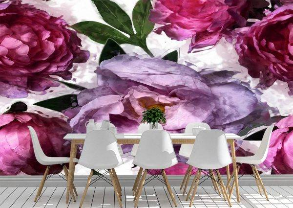 Art Pink and Lilac Peonies Wall Mural Photo Wallpaper