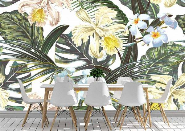 Summer exotic flowers Wall Mural Photo Wallpaper UV Print Decal Art Décor