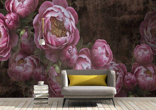 Flowers painted on a concrete Wall Mural Wallpaper UV Print Decal Art Décor