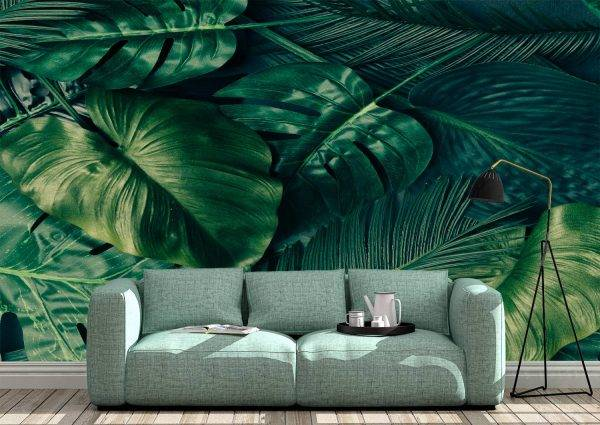 Green Palm Leaves Wall Mural Photo Wallpaper