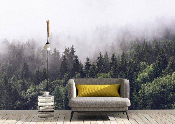 Fog Over the Forest Wall Mural Photo Wallpaper