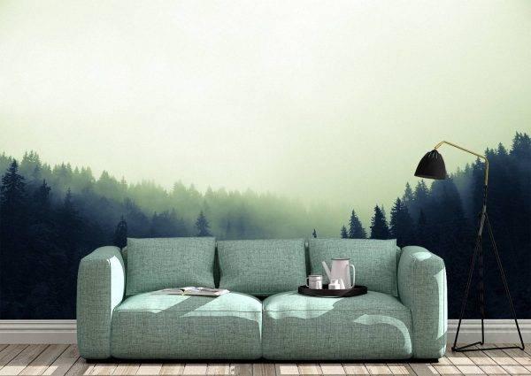 Mysterious Forest & Fog Wall Mural Photo Wallpaper UV Print Decal Art Décor