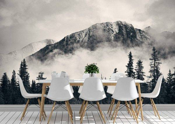 Mountains and Forest in Fog Wall Mural Photo Wallpaper UV Print Decal Art Décor