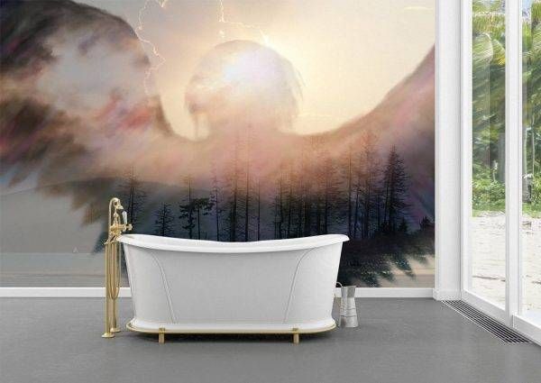 Angel Shadow over the Forest Wall Mural Photo Wallpaper UV Print Decal Art Décor
