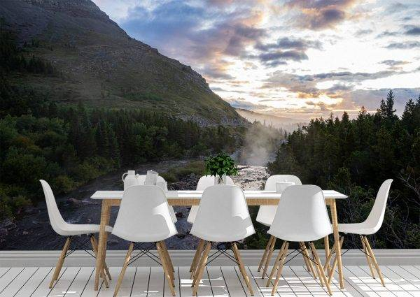 Morning in the mountains Wall Mural Wallpaper