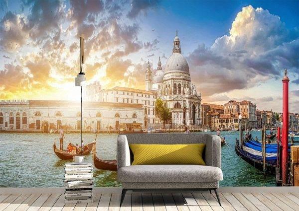 Romantic Light at Sunset in Venice Wall Mural Wallpaper