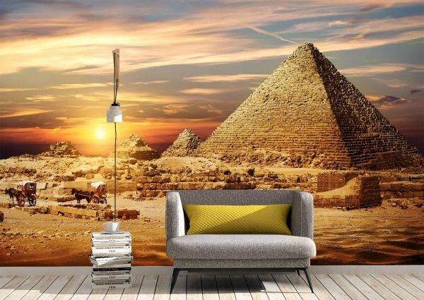 Pyramids in Desert Wall Mural Photo Wallpaper UV Print Decal Art Décor