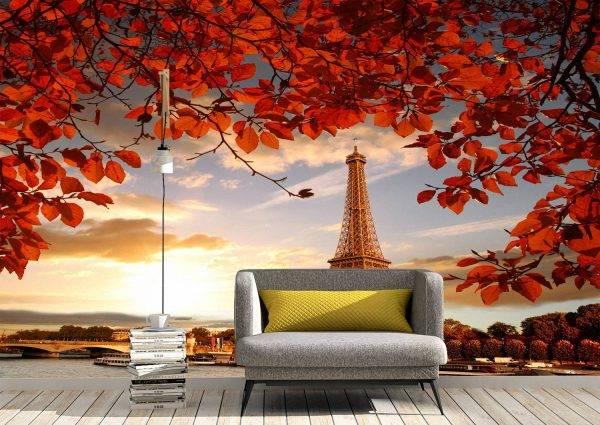 Eiffel Tower & Autumn Wall Mural Photo Wallpaper UV Print Decal Art Décor
