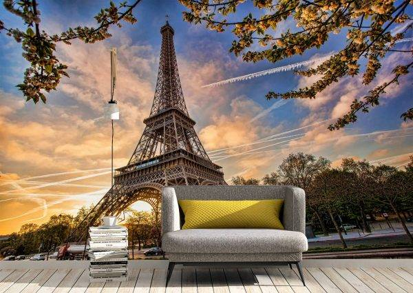 Eiffel Tower & Spring Wall Mural Photo Wallpaper