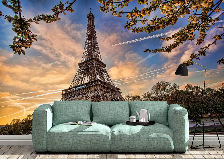 Eiffel Tower & Spring Wall Mural Photo Wallpaper