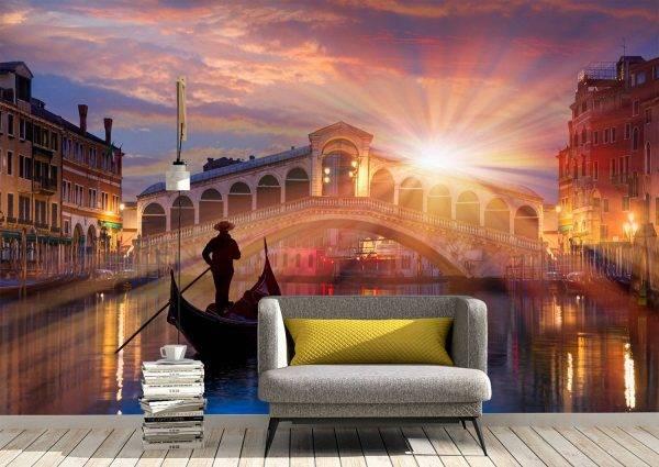 Megic Gondola & Sunset Wall Mural Photo Wallpaper UV Print Decal Art Décor