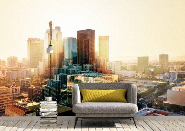 Cityscape at Morning Wall Mural Photo Wallpaper