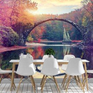 Awesome Autumn Landscape Wall Mural Photo Wallpaper UV Print Decal Art Décor