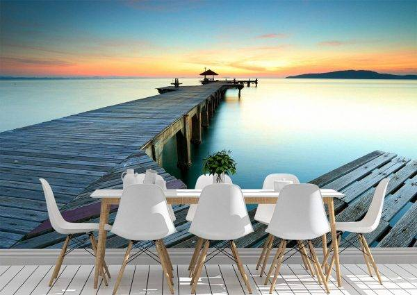Landscape Path and Sunset Wall Mural Photo Wallpaper UV Print Decal Art Décor