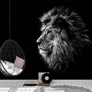 Black and White Lion Wall Mural Photo Wallpaper UV Print Decal Art Décor