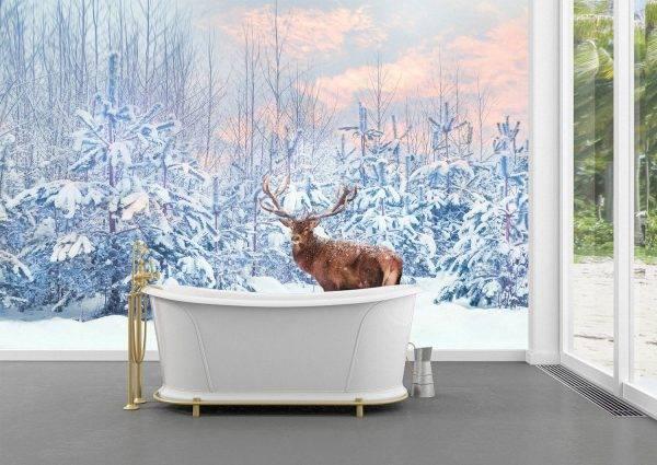 Deer in the Winter Forest Wall Mural Photo Wallpaper UV Print Decal Art Décor