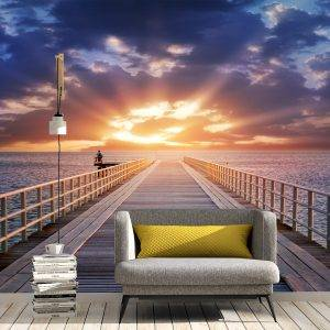 Amazing Sunset and Path Wall Mural Photo Wallpaper UV Print Decal Art Décor