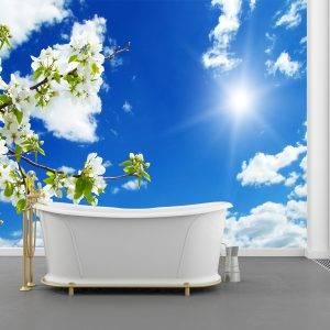 3d sky beautiful flowers Wall Mural Photo Wallpaper UV Print Decal Art Décor