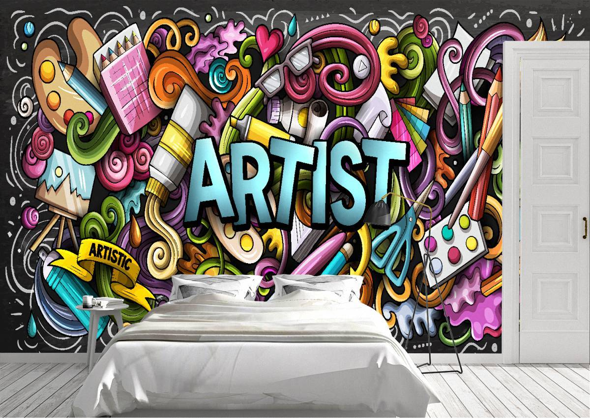 Graffiti street background Wall Mural Photo Wallpaper UV Print Decal Art Décor