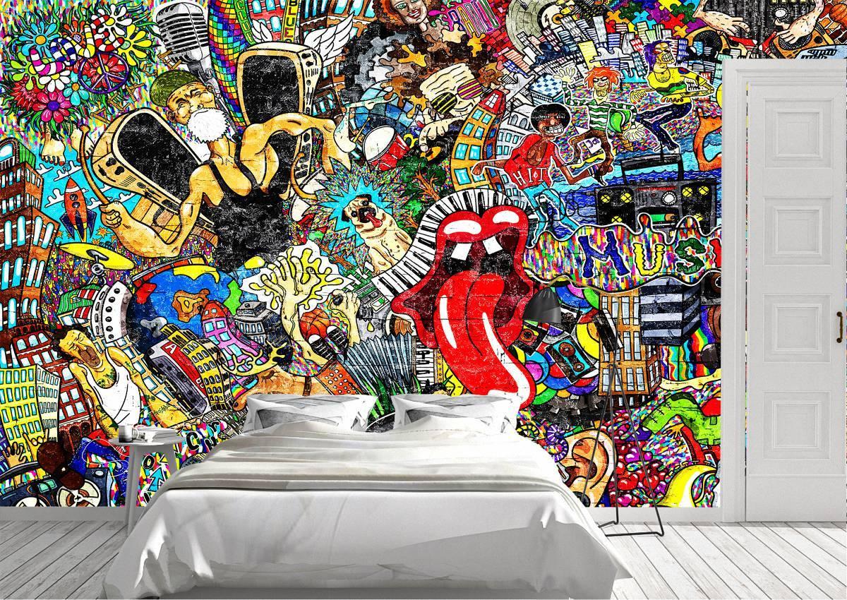 Music Collage Art Street Wall Mural Photo Wallpaper