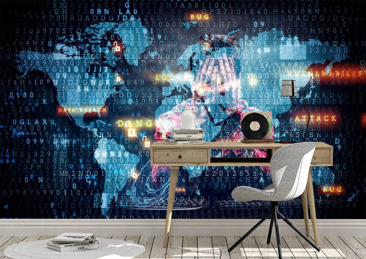 Cyber World Map Hacker Wall Mural Photo Wallpaper UV Print Decal Art Décor
