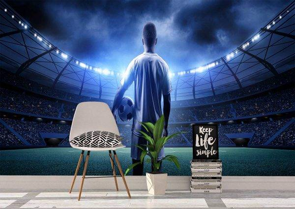 Football Player in the Stadium Wall Mural Photo Wallpaper UV Print Decal Art Décor