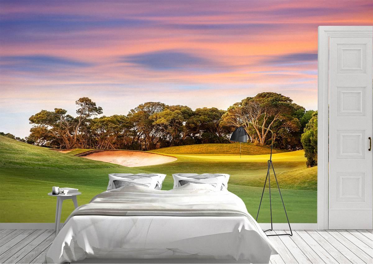 Golf Course at Sunset Wall Mural Photo Wallpaper UV Print Decal Art Décor
