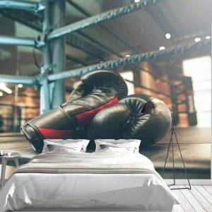 Boxing Gloves in the Ring Wall Mural Photo Wallpaper UV Print Decal Art Décor