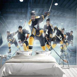 Ice Hockey Team in Action Wall Mural Photo Wallpaper UV Print Decal Art Décor