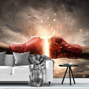 Hit Boxing Gloves with Fire Wall Mural Photo Wallpaper UV Print Decal Art Décor