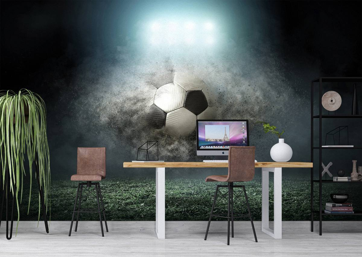Soccer ball in action Wall Mural Photo Wallpaper UV Print Decal Art Décor